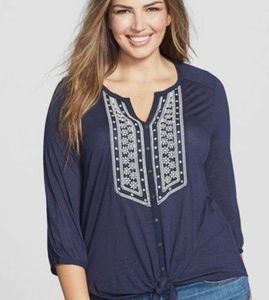 Lucky Brand Ariana Tie front Top 2X